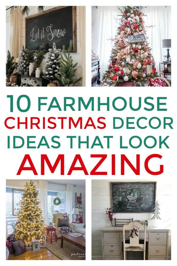 DIY Farmhouse Christmas Decorations that you will love this year. Includes Farmhouse Christmas Tree and ornaments. #farmhouse #farmhousechristmas #christmasdecor #farmhousechristmasdecor