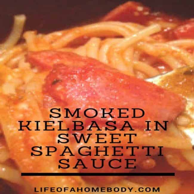 Smoked Kielbasa Recipe in sweet spaghetti sauce
