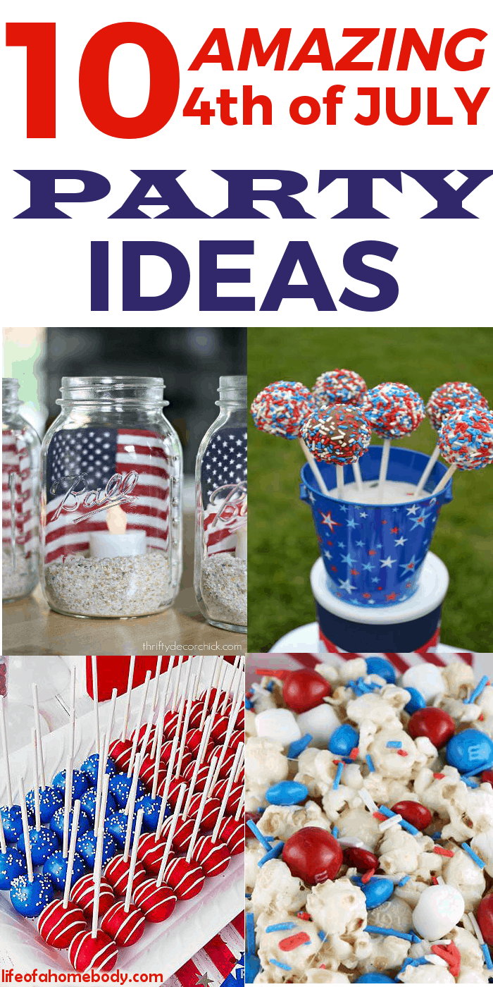 I love this list of 4th of July Party Ideas!  It has decoration, food, and game ideas and will be perfect to help me plan my party! #4thofjuly #fourthofjuly #4thofJulyparty #partyideas
