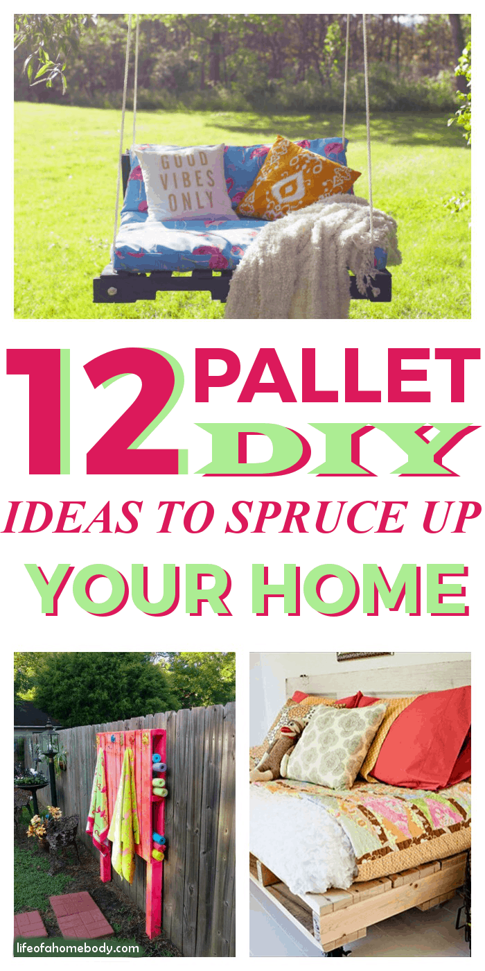 I love these 12 DIY Pallet DIY Ideas to Spruce Up my Home Inside and Outside!  Will be pinning for sure! #pallet #palletideas