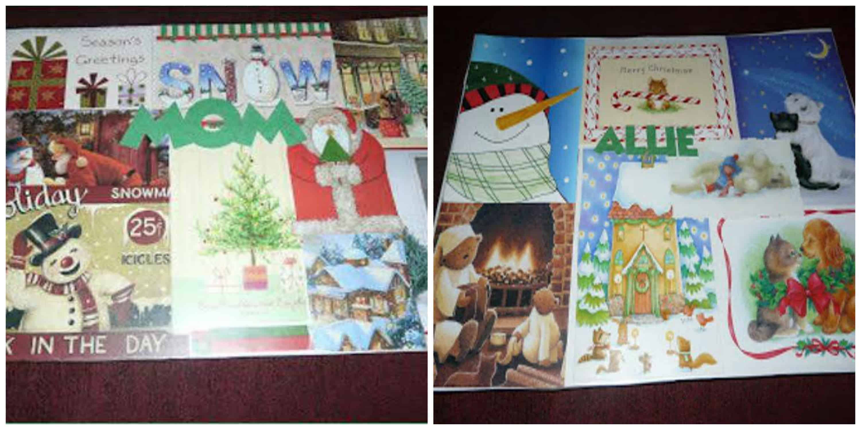 how to make placemats using Christmas Cards