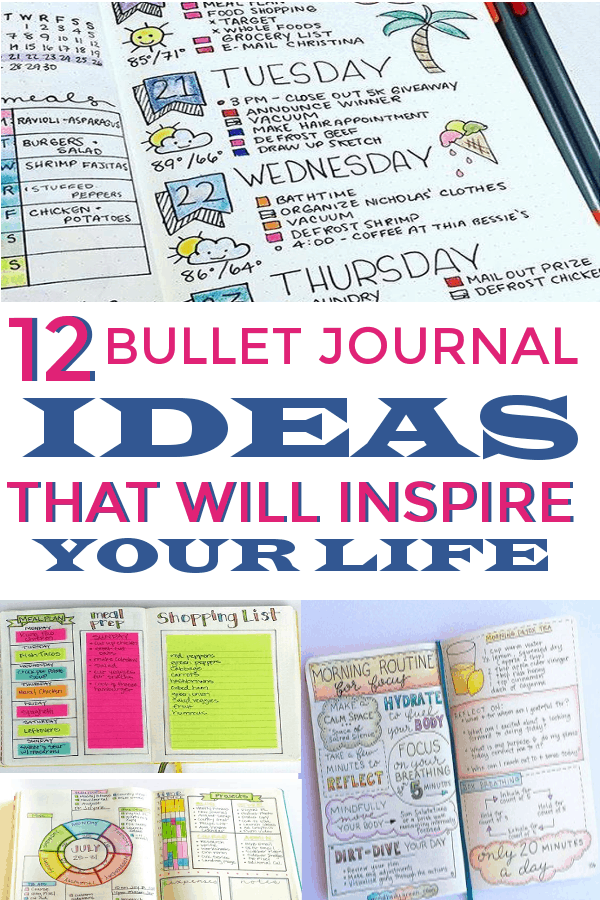 12 Bullet Journal Ideas that will inspire your life! #bulletjournallayouts #bujohabittrackers #habittrackers #spreads #layouts #bujolove #bujospreads #bujolayouts