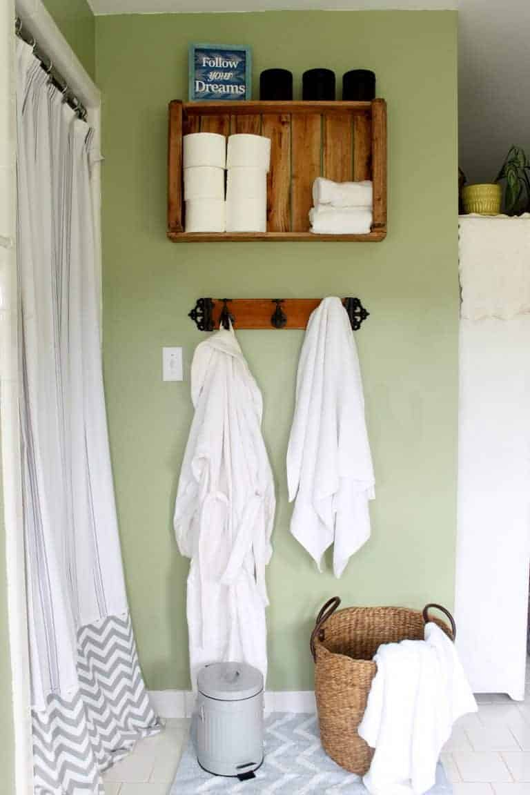 12 Farmhouse Decor Ideas anyone can do on a budget on Rustic Farmhouse Bathroom  id=93057