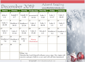 2019 Advent Reading Plan for the month of December! #advent #adventreadingplan #christmas #christinchristmas