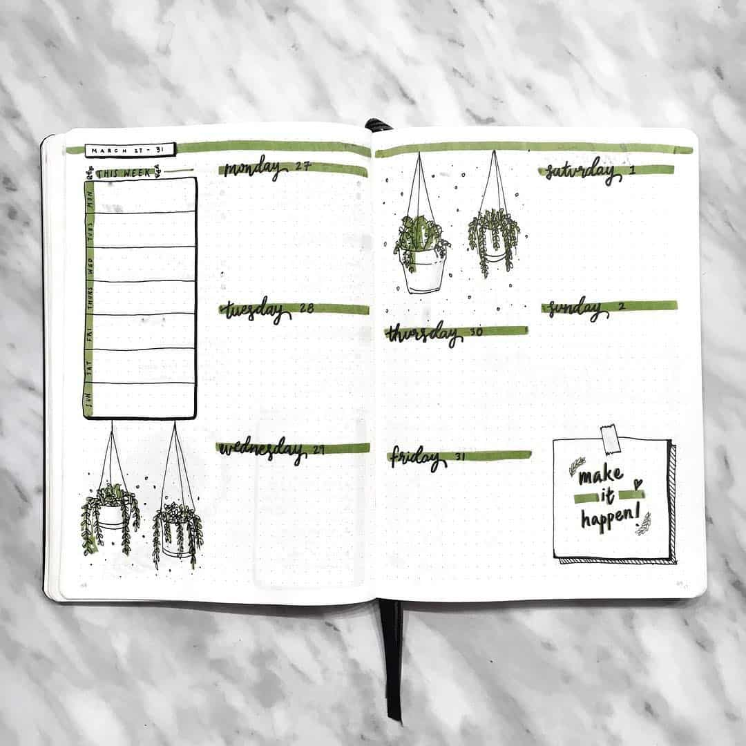 Weekly Bullet Journaling Spreads to help keep you organized and set goals. Simple layouts included. #bulletjournaling #weeklybulletjournaling #bulletjournal