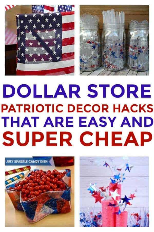 DIY Patriotic Decorations you can put together at the Dollar Store! #dollarstore #dollarstoredecor #patrioticdecor #4thofjulydecor #memorialdaydecor #dollarstorepatrioticdecor