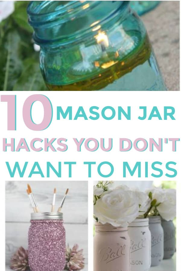 Many fun ways to use mason jars for your home.  #masonjars #cleverhomehacks #jars