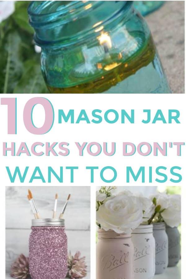 Many fun ways to use mason jars for your home. #masonjars #cleverhomehacks #jars