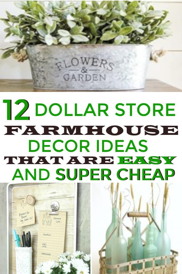 Dollar Store Farmhouse Decor ideas that are easy and super cheap! Great DIY farmhouse projects. #farmhousedecoronabudget #dollarstorefarmhouse #homediyonabudget #homediy #farmhouse