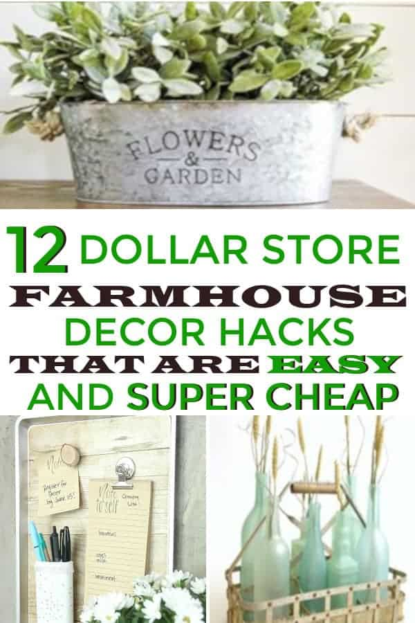 Farmhouse decor hacks you can get at the Dollar Store. This would be great for home decor on a budget. #farmhouse #farmhousedecor #dollarstorehomedecor #homedecoronabudget