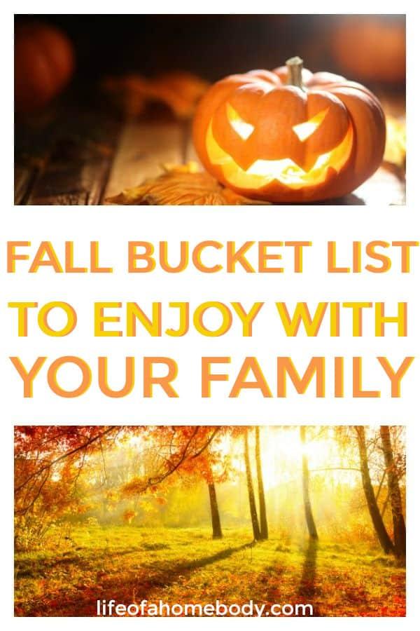 Fall Bucket List for families, kids, and couples. #fallbucketlist #fall #fallactivites
