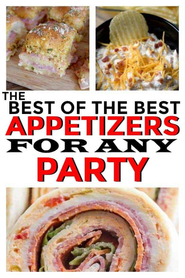 Easy Appetizers perfect for any any party. Crockpot recipes included. #parties #party #appetizers #partyappetizers