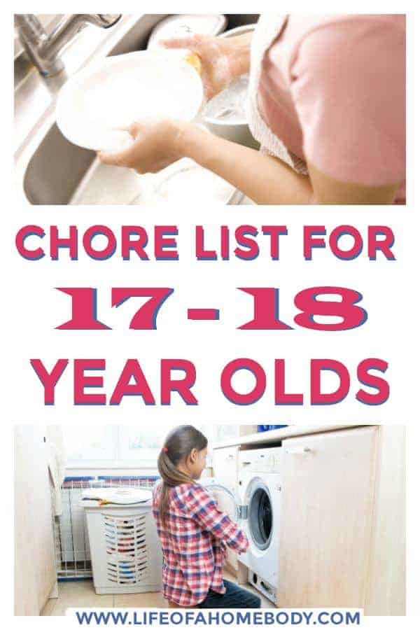 Chore list for the teenager that is 17-18 yrs old. #chorelist #choresforteens #teens #chores