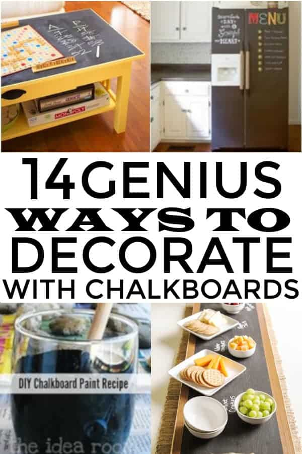 DIY Chalkboard decor for the home. Great ideas for furnitures, walls, chalkboard art and more. #chalkboarddecor #farmhousedecor #chalkboards #chalk #diyhomedecor