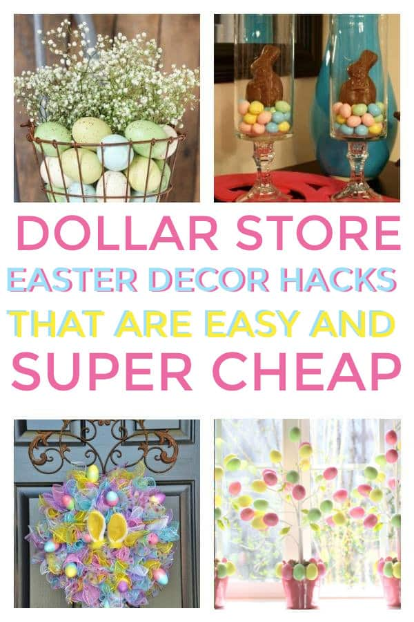 How to make Dollar Store Easter Decor that are simple for the home. #easter #easterdecor #dollarstore #dollarstoredecorations #dollarstoreeasterdecor