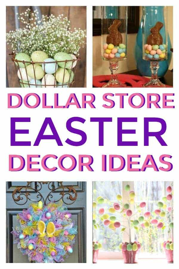 How to make DIY Easter Decor from the Dollar Store for the home. #easterdecor #dollarstoredecor #farmhouse #dollarstoreeasterdecor