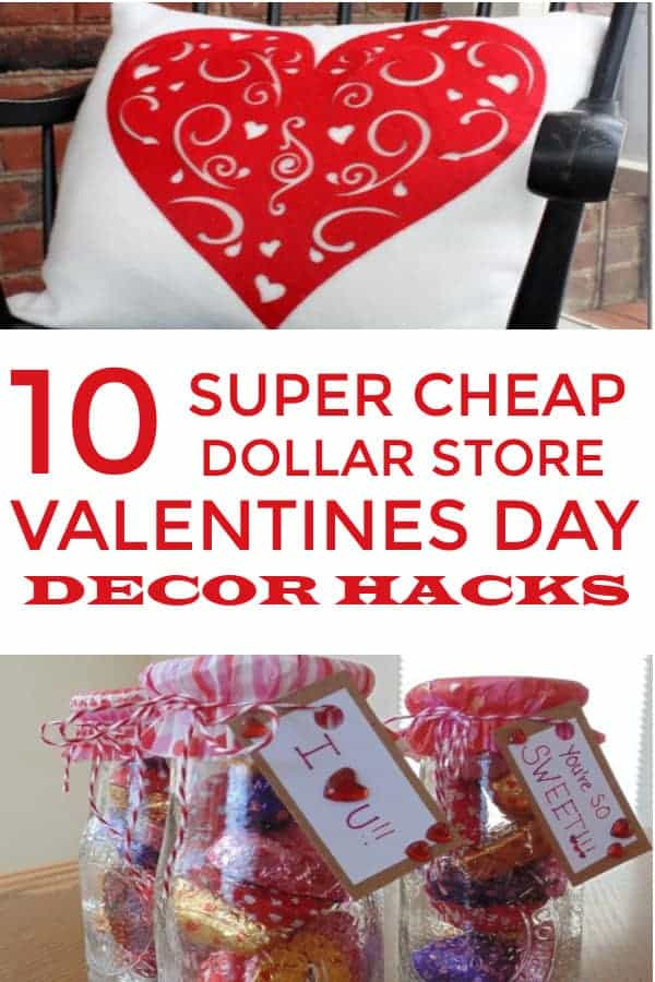 Easy DIY Valentines Day Home Decor from the Dollar Tree that are cute and simple. #valentinesdaydecor #decoronabudget #dollartree