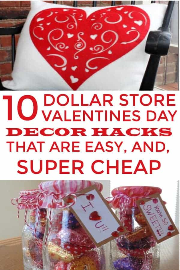 Valentines Day Decor you can find on a budget at the Dollar Store. DIY Valentines Day Home Decor. #valentinesdaydecor #dollarstore #valentinesday