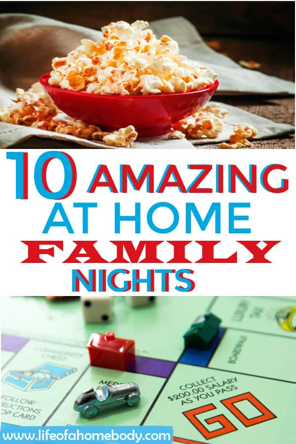 10 At Home Cheap Family nights to enjoy with your family. #familynights #athomefamilynights #gamenight #familymemories