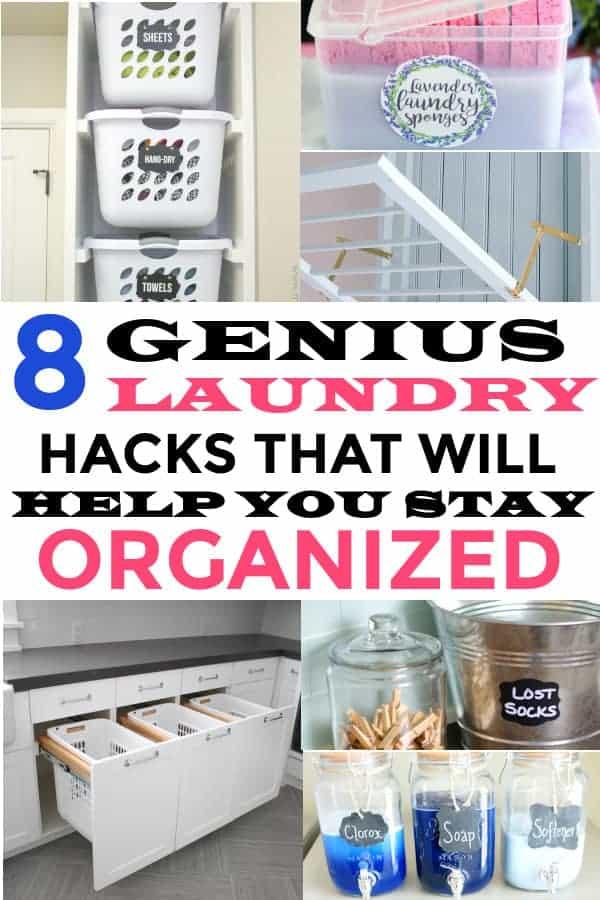 Laundry hacks that will keep you organized. #laundry #laundrytips #laundryhacks