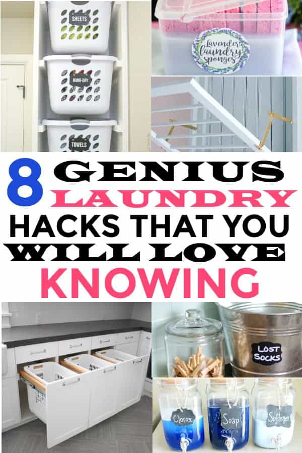 laundry hacks that you will help you make laundry time easier.  #laundry #laundryhacks #laundryrooms