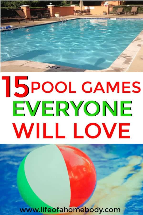 This is a great list of fun pool games for kids and adults. This is must pin for pool parties and swimming fun! #poolgames #swimmingpoolgames #poolgamesforkids #poolgamesforadults #summer