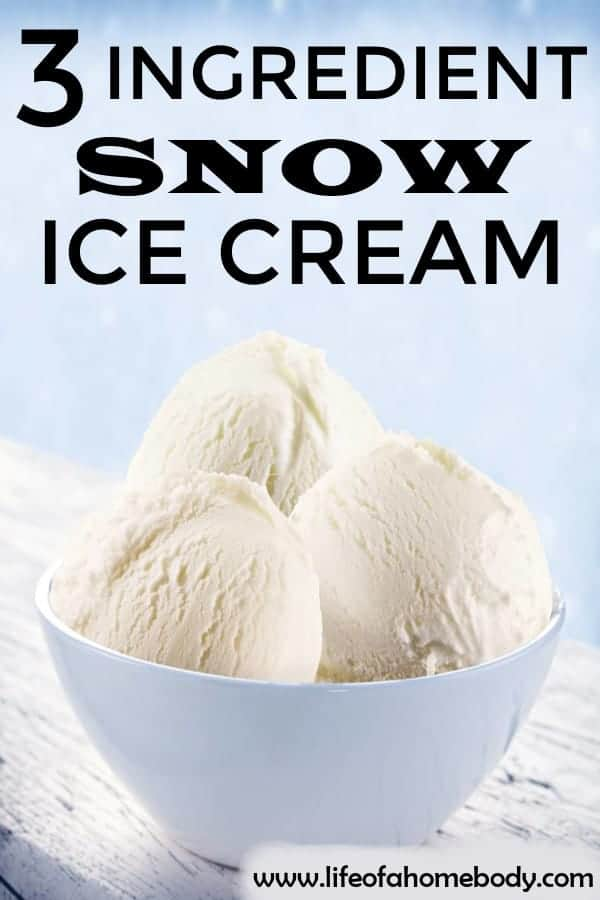 3 Ingredient Snow Ice Cream. Easy to make ice cream out of snow. Delicious. #snow #snowicecream #icecream