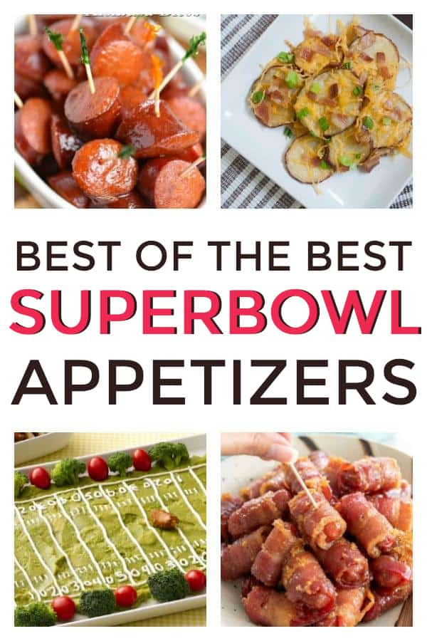 Easy Super Bowl Appetizers perfect for any football party. Crockpot recipes included. #footballparty #biggame #superbowl #appetizers #superbowlappetizers #partyappetizers