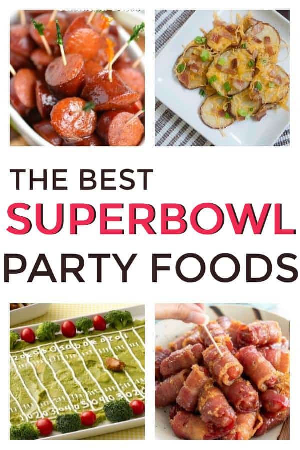 Great list of appetizers for the party that are easy to make! These will be perfect for a crowd or for game day! #superbowl #appetizers #partyappetizers #crockpot #sweet #fingerfoods #superbowlappetizers