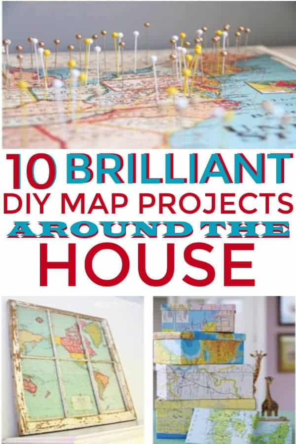 10 fun ways to decorate your house with maps.  #decoratewithmaps #maps