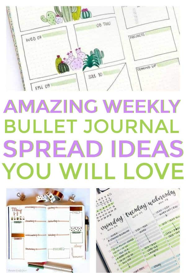 Bullet Journal Weekly Spreads to help you stay organized. #bulletjournaling #bulletjournalingweeklyspreads #bulletjournalideas