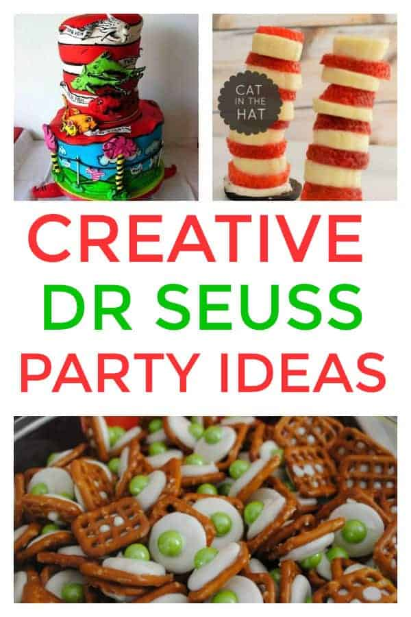 These are some of the best creative Dr. Seuss Party Ideas I have seen. cakes, decorations, party foods and favors. #drseuss #drseusspartyideas #drseussparty