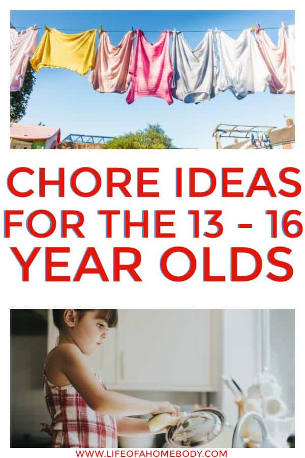 Chore idea lists that are great for the 13-16 yr old. Chore list for teens! #chorelists #teenchorelist #choresforkids #chores