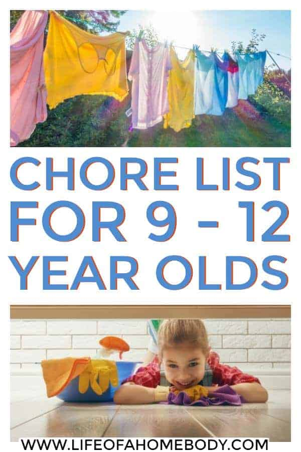 Chore list for kids 9-12 yrs of age. Chores by age! #chores #choresbyage #choresfortweens #chorechart
