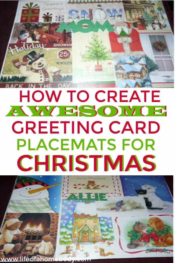 I love these Christmas Placemats using recycled Christmas Cards.  This is an easy DIY Christmas craft that makes a great DIY Christmas Gift. #diy #diychristmasgift #diychristmasdecor #placemats #christmascards