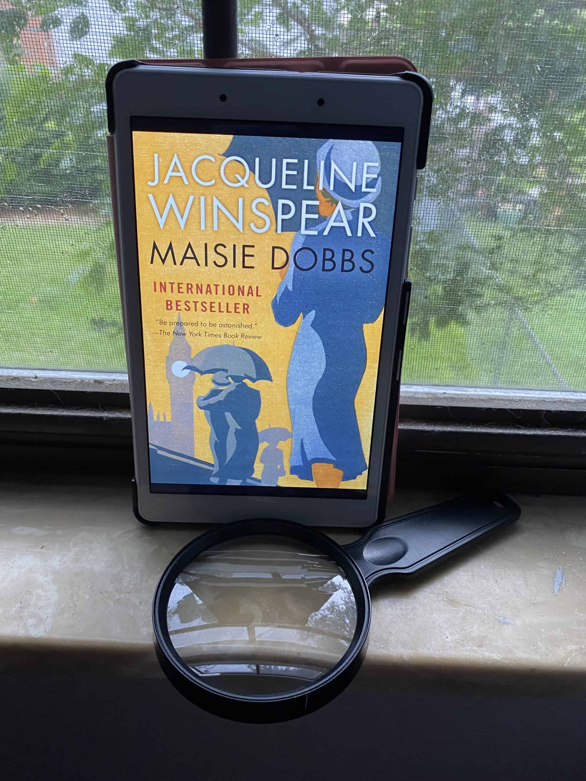 An image for a book review. Photograph of the book Maisie Dobbs by Jacqueline Winspear