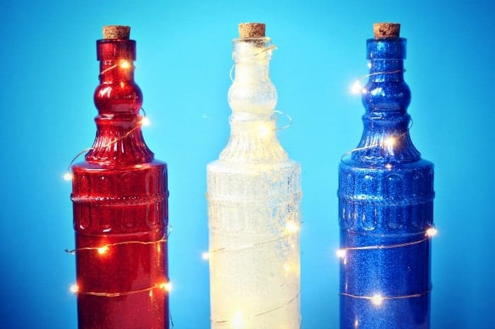 DOLLAR STORE GLITTERED BOTTLE LIGHTS Mad in Crafts
