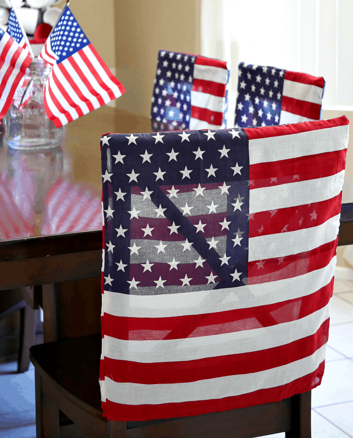 Patriotic Flag Dining Chair Covers - Under 30 Minute Dollar Store Craft